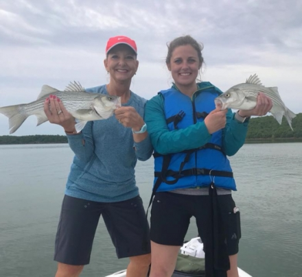The Oklahoma Striped Bass Association recently helped Rhonda Hurst and Corey Jager catch some nice striped bass hybrids at Skiatook Lake.