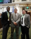 House pages Mekhi Roberson and Peyton Upchurch with Rep. Rick West on the House floor.