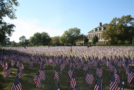 OSU students and other volunteers will join in placing dog tags on the more than 6,900 flags representing military service members who have given their life in the Global War on Terror.