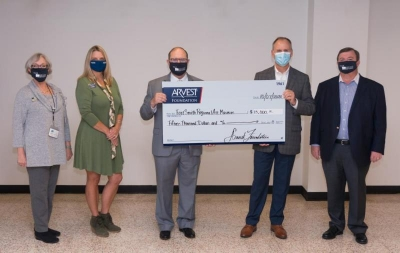 From left to right: Julie Moncrief, RAM Development Director, Beth Presley, ARVEST Marketing Manager, Louis Meluso, RAM Executive Director, Roger Holroyd, ARVEST President and Lawson Hembree, RAM Board President
