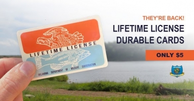 """Lifetime hunting & fishing license holders are proud of what their license represents. It's proof that you are a sportsman ... for life! And now you can upgrade or replace your worn out lifetime license with this familiar classic look from years' past. If you currently have separate lifetime hunting and lifetime fishing licenses, now you can have both privileges printed on the same card for your own """"combo"""" license! These stylish durable, credit-card-style licenses featuring a throw-back retro design are available now to lifetime license holders for just $5. Log in to your Go Outdoors Oklahoma profile and get yours today!"""