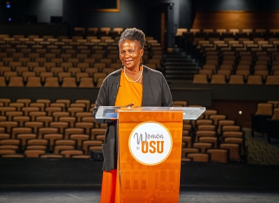 """Dr. Tererai Trent, an Oklahoma State University alumna, internationally acclaimed voice for women's empowerment and quality education and Oprah Winfrey's """"favorite guest of all time"""" presented her keynote address at the McKnight Center for the Performing Arts during this year's Women for OSU Virtual Symposium."""