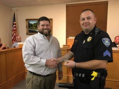 Hecht receives 15 years of Service Pin with city of Poteau