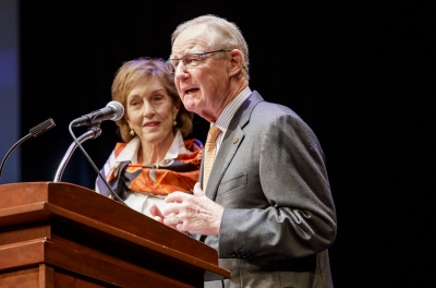 Oklahoma State University President Burns Hargis, accompanied by his wife Ann, speaks during his retirement announcement, Friday, Oct. 23, 2020. Hargis, who has been president at OSU for 13 years, will retire July 1, 2021.