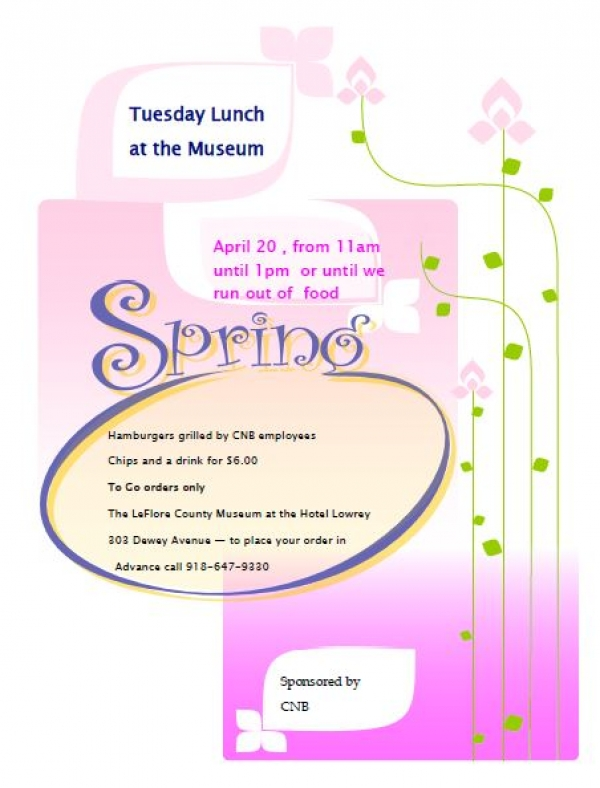 It's Time again for Tuesday Lunch at the Museum