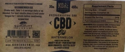 Summitt Labs Issues Voluntary Nationwide Recall of KORE ORGANIC Watermelon CBD Oil Due to High Lead Results