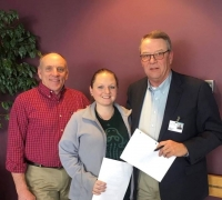 Pictured(left to right): Jon Pickel, Chief- Poteau Fire Department, Cassie Goforth and Bob Carter, CEO- Eastern Oklahoma Medical Center.
