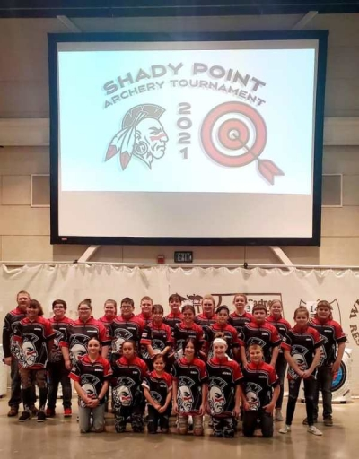 Shady Point Archery Team prior to the start of the tournament (some 5th graders were not pictured).