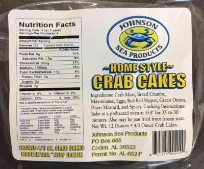 "Johnson Sea Products Issues Allergy Alert on Undeclared Wheat & Soy in ""Home Style Crab Cakes"""