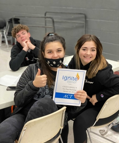 Poteau GEAR UP students Champ Downs, Rio Torres, and Emma Stephens are excited to attend the Chad Cargill ACT Test Prep Workshop.