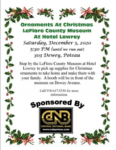 Ornaments at Christmas at the LeFlore County Museum at Hotel Lowrey sponsored by Central National Bank