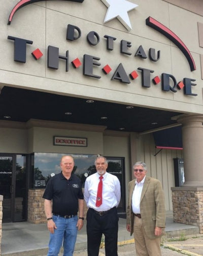 Pictured are: Bob Reed, Chairman of the Board and Larry Spradley, President/ CEO, both of The Community State Bank and Dr. Don Sjoberg, Poteau Superintendent
