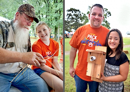 Make-n-Take projects are always fun for the kids at the Wildlife Expo, but families need to sign up early for the limited spots. At left, a couple of Expo-goers learn basket-weaving; at right, Dad and daughter show off the bluebird nest box they made. (Darrin Hill/ODWC)